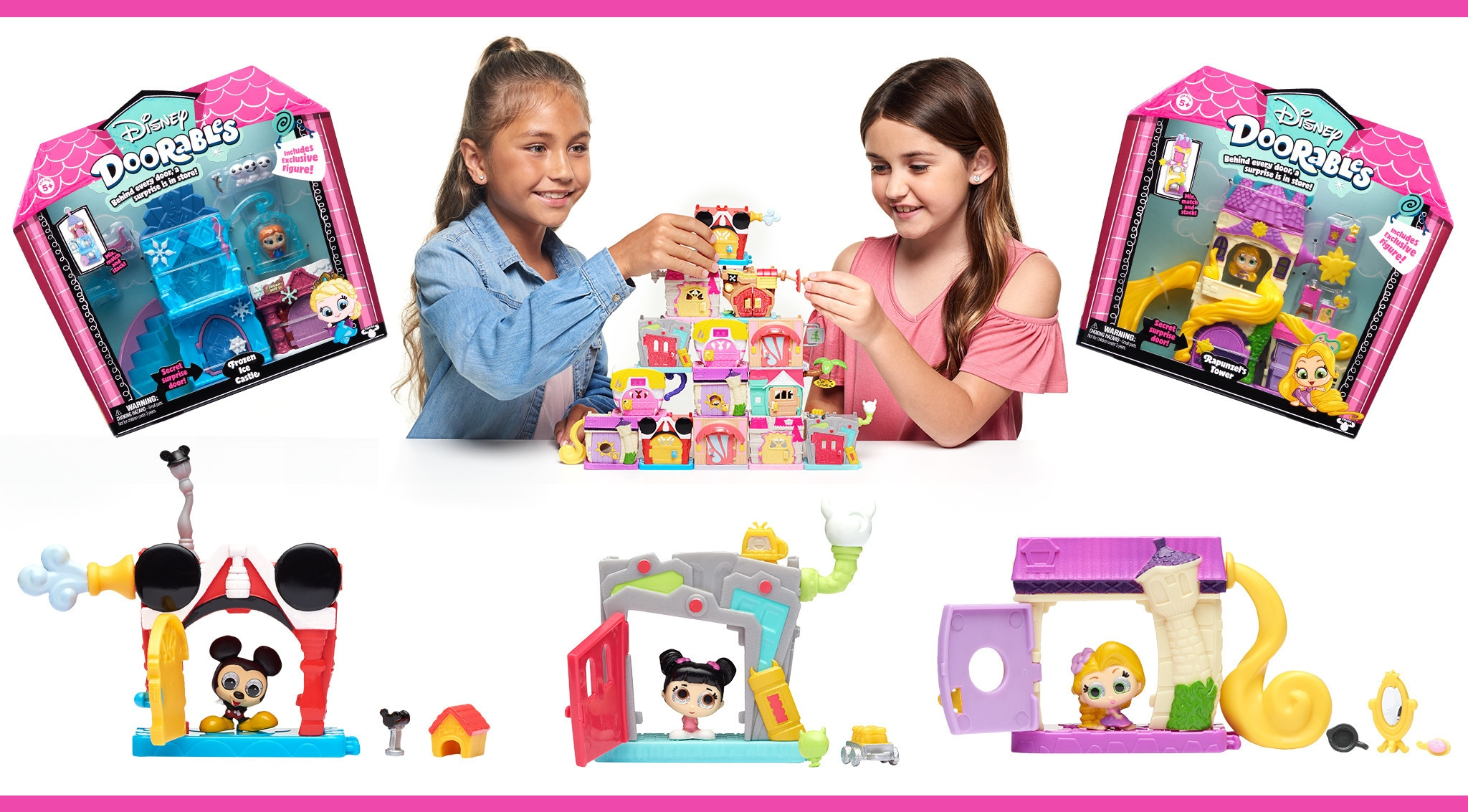 Image featuring Disney Doorable products including Mickey Mouse, Boo and Rapunzel with two girls playing with the toys.