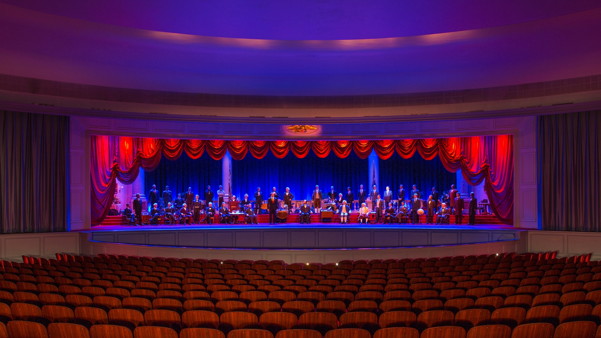 Image of The Hall of Presidents interior auditorium.