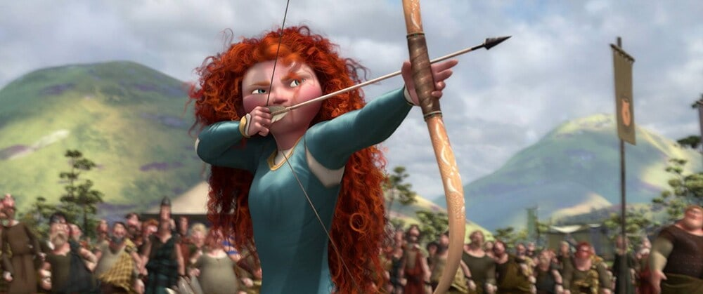 "Merida shooting an arrow with a bow, in the animated movie ""Brave"""