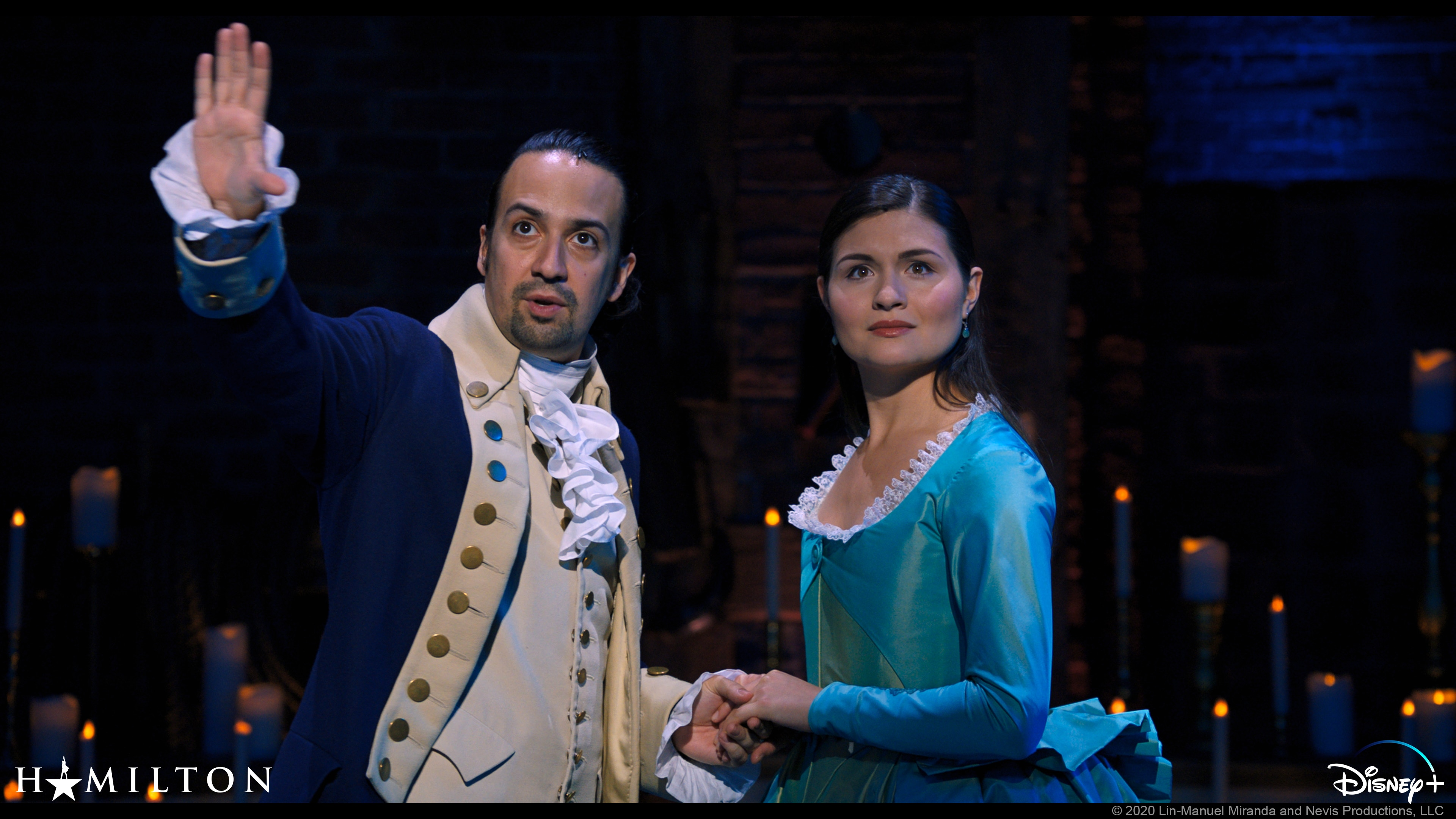 Alexander Hamilton (Lin-Manuel Miranda) e Eliza Schuyler (Phillipa Soo)