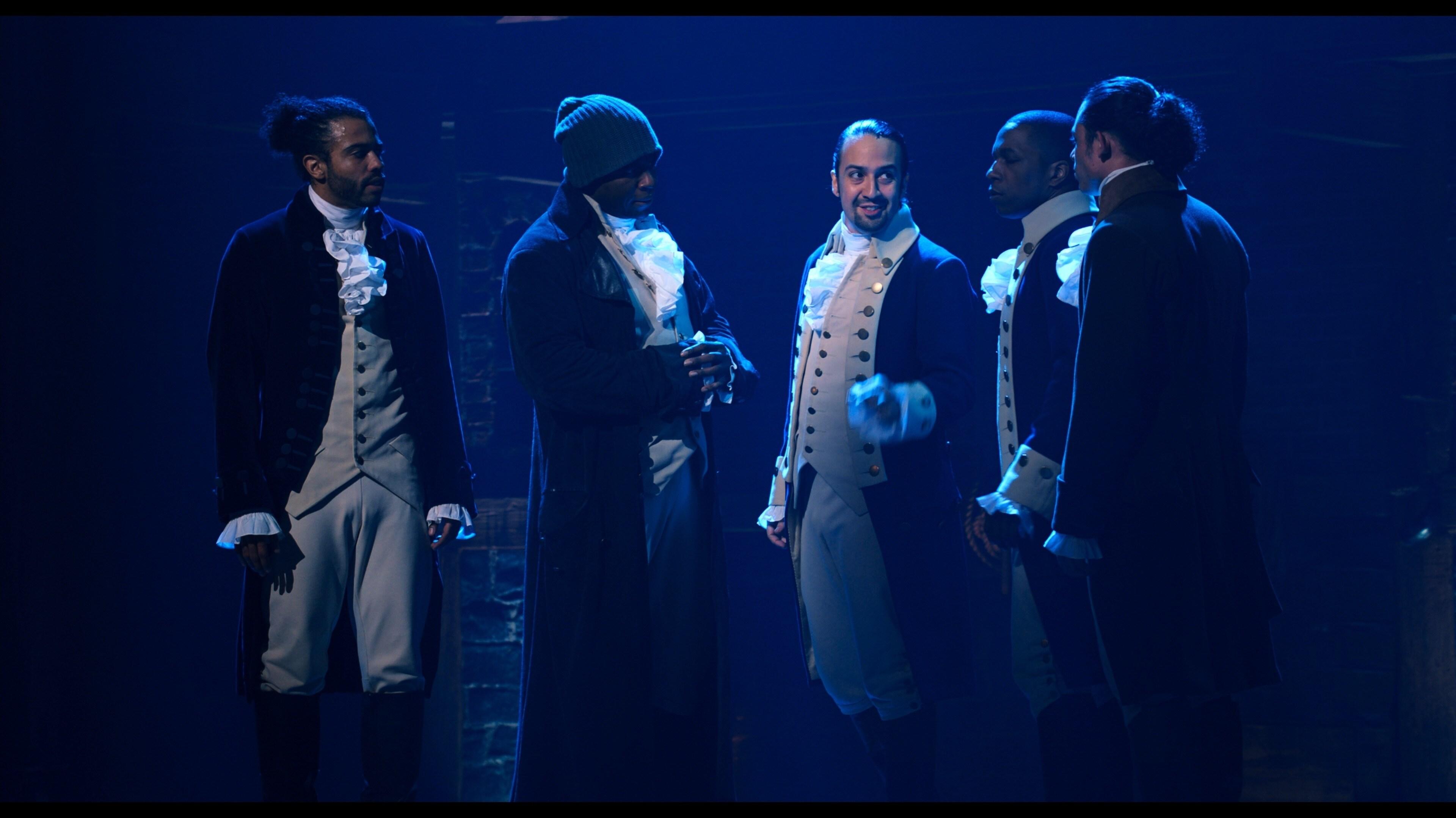 Daveed Diggs is the Marquis de Lafayette, Okieriete Onaodowan is Hercules Mulligan, Lin-Manuel Miranda is Alexander Hamilton, Leslie Odom, Jr. is Aaron Burr and Anthony Ramos is John Laurens in HAMILTON, the filmed version of the original Broadway production.
