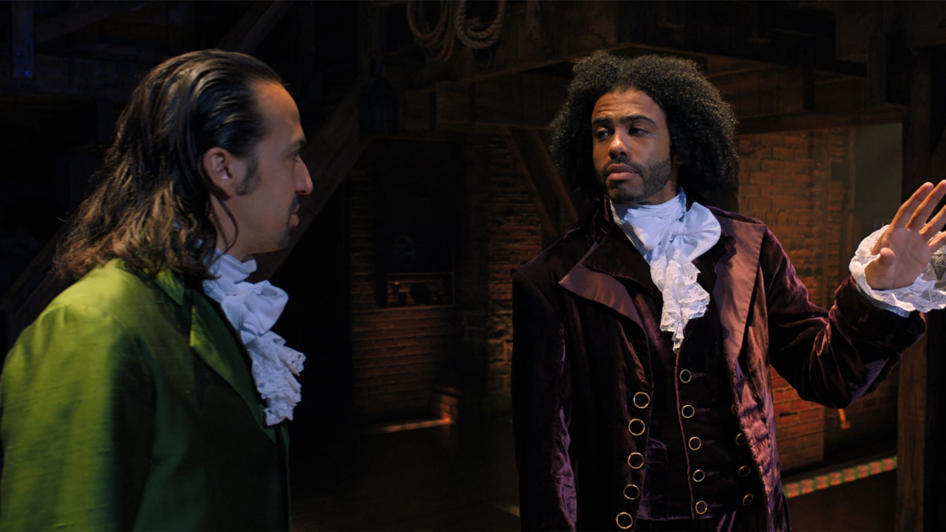 Lin-Manuel Miranda is Alexander Hamilton and Daveed Diggs is the Marquis de Lafayette in HAMILTON, the filmed version of the original Broadway production.