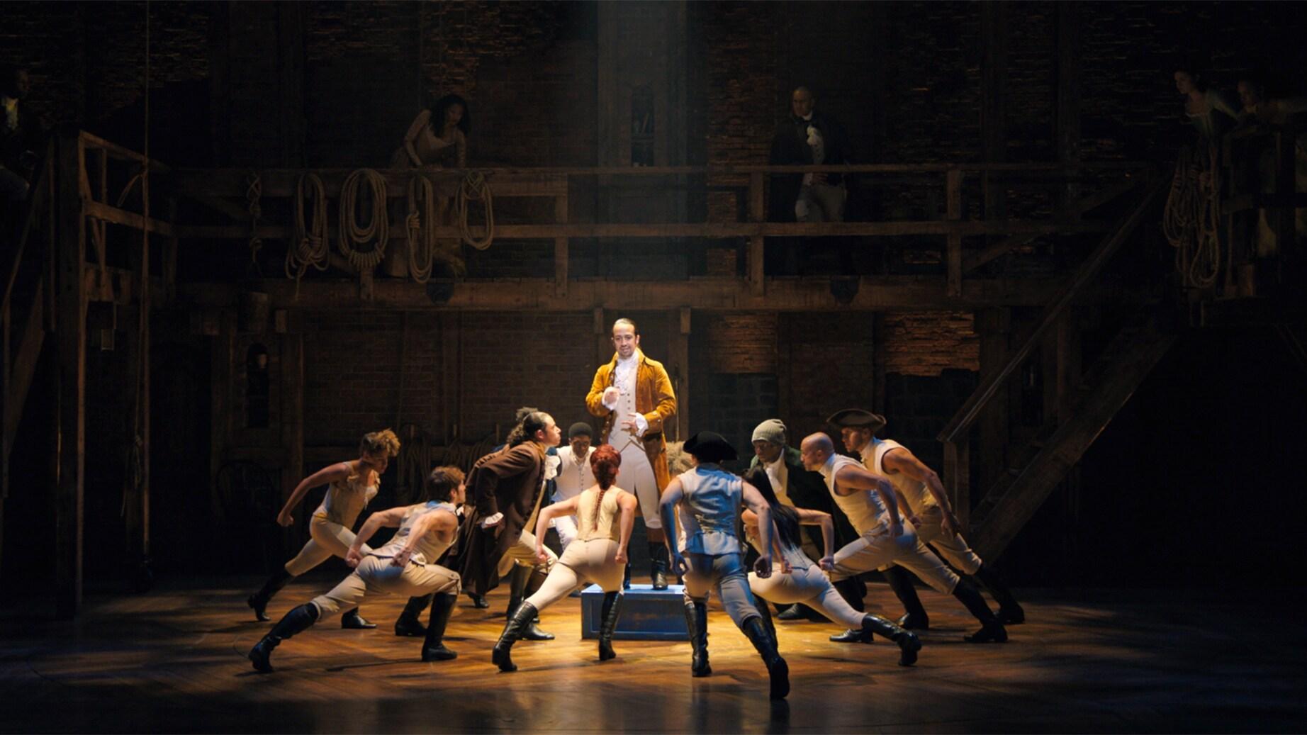 (L-R): Anthony Ramos is John Laurens, Lin-Manuel Miranda is Alexander Hamilton, and Okieriete Onaodowan is Hercules Mulligan in HAMILTON, the filmed version of the original Broadway production.