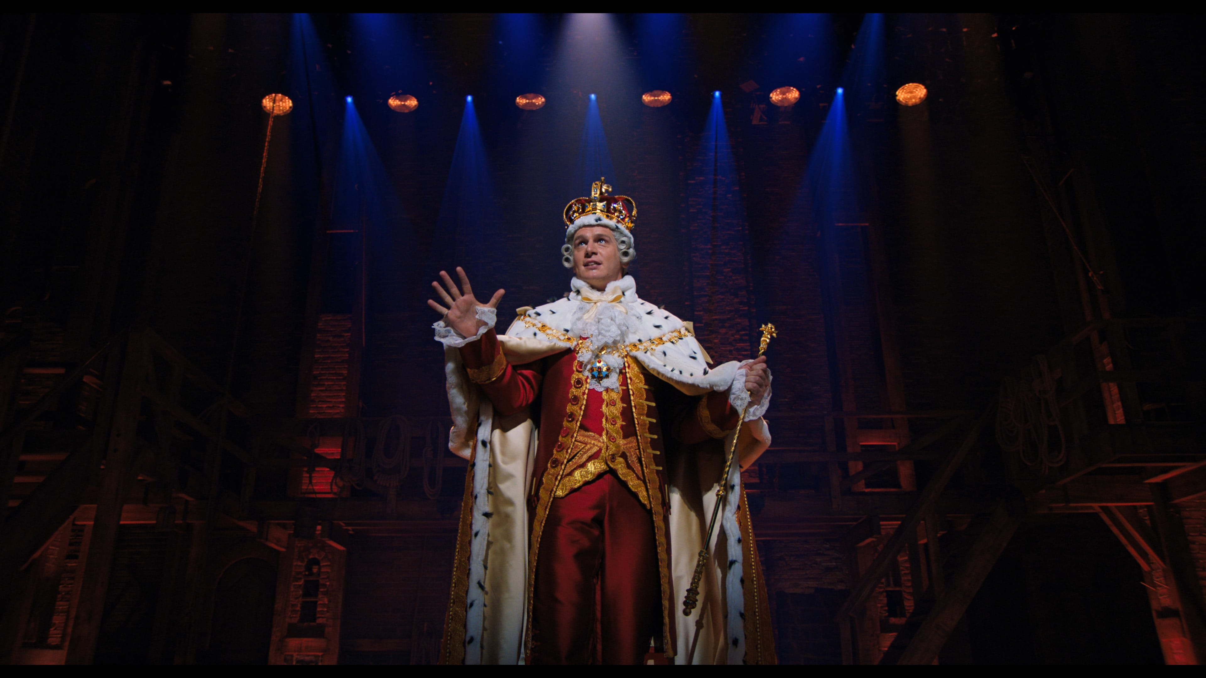 Jonathan Groff is King George in HAMILTON, the filmed version of the original Broadway production.