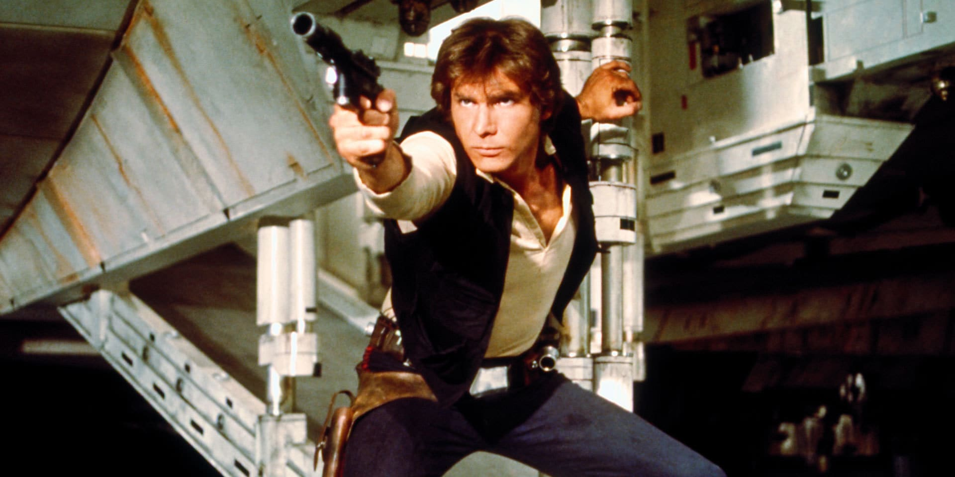 """Han Solo (Harrison Ford) in """"Star Wars: A New Hope"""" (1977)"""
