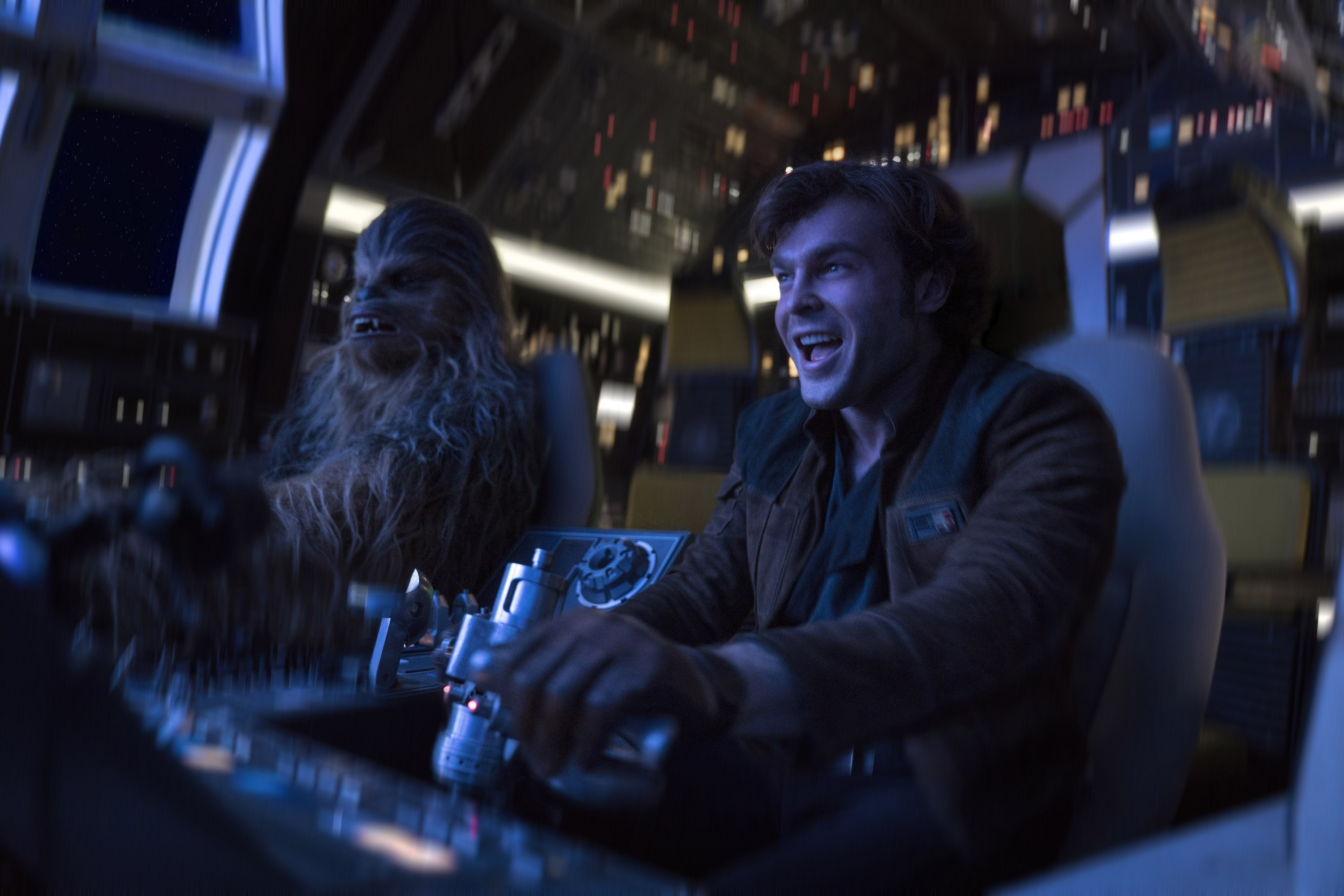 Young Han Solo and Chewbacca