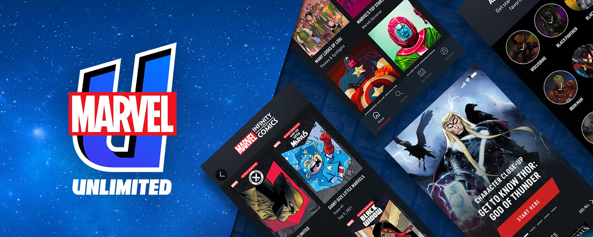 Marvel Unlimited Logo and stills taken from the apps interface