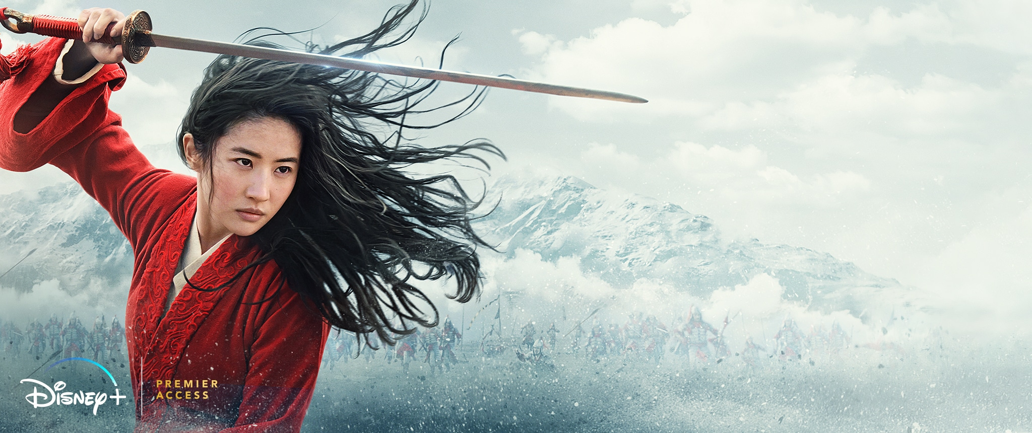Hero - Disney+ - Mulan (2020) movie landing page **HOME ENT. NOW ON DIGITAL**