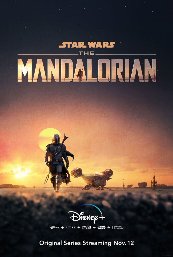 The Mandalorian sunset poster, Disney+ Original Series Streaming Nov. 12