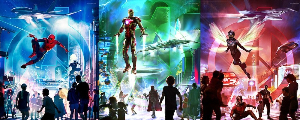 Artist renderings of Marvel characters and scenes from Disney Parks.