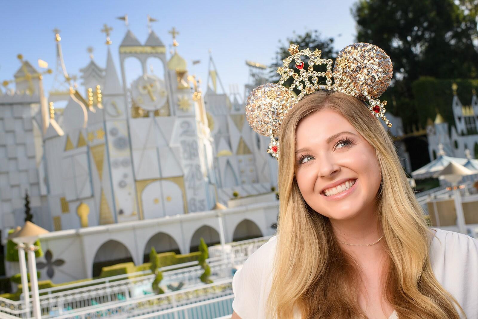 Heidi Klum wearing her designer Minnie Mouse Ear Headband at Disneyland Resort