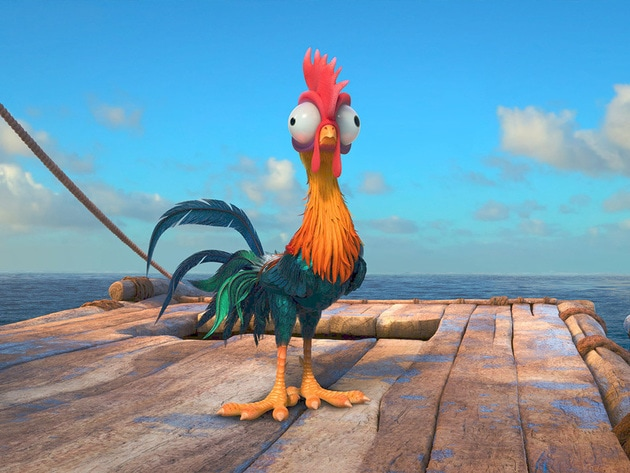 Heihei  is a dumb rooster who accidently stows away on Moana's canoe.