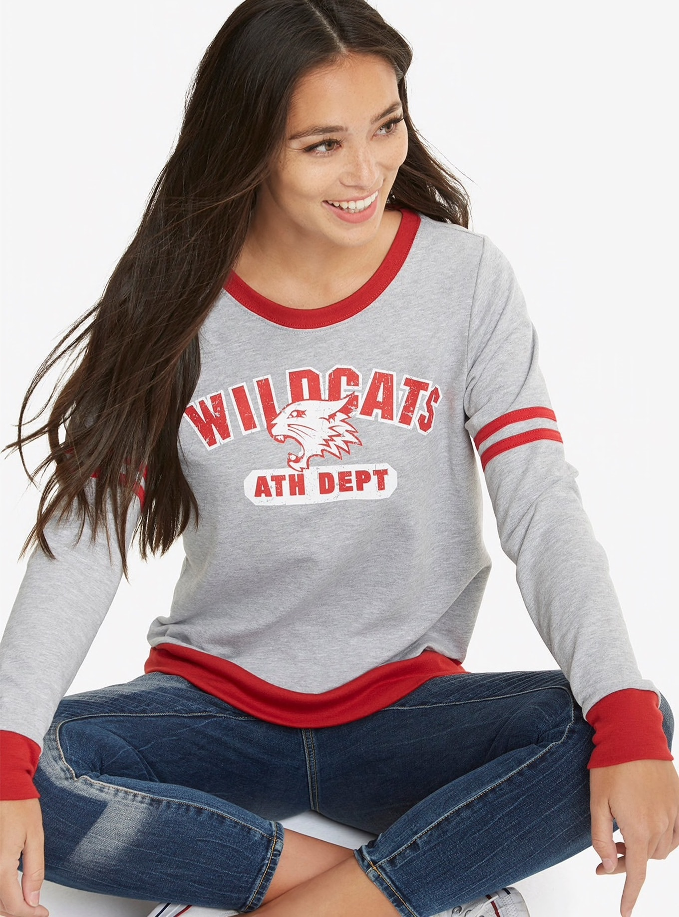 Model wearing a High School Musical Wildcats sweatshirt