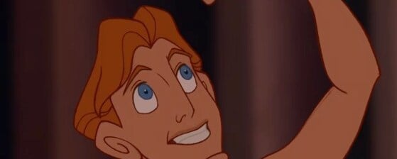 "Hercules raising his fist in the air, from the animated movie ""Hercules"""