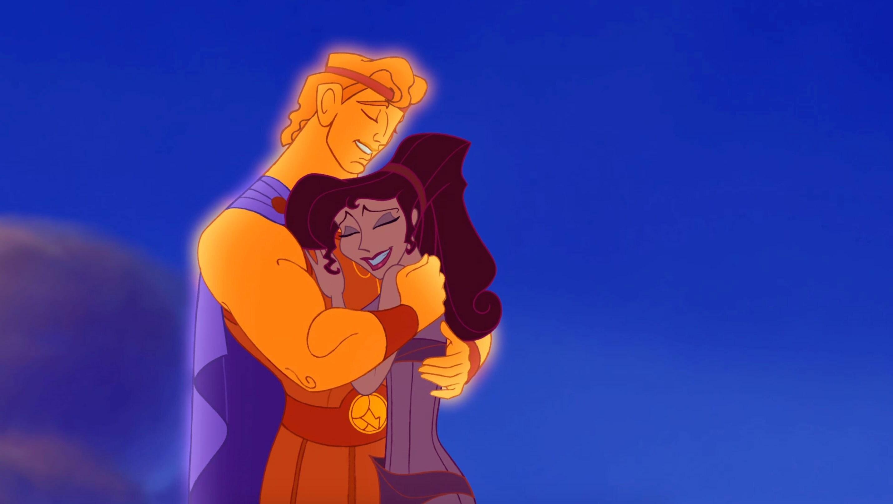 "Hercules hugging Meg in ""Hercules"""