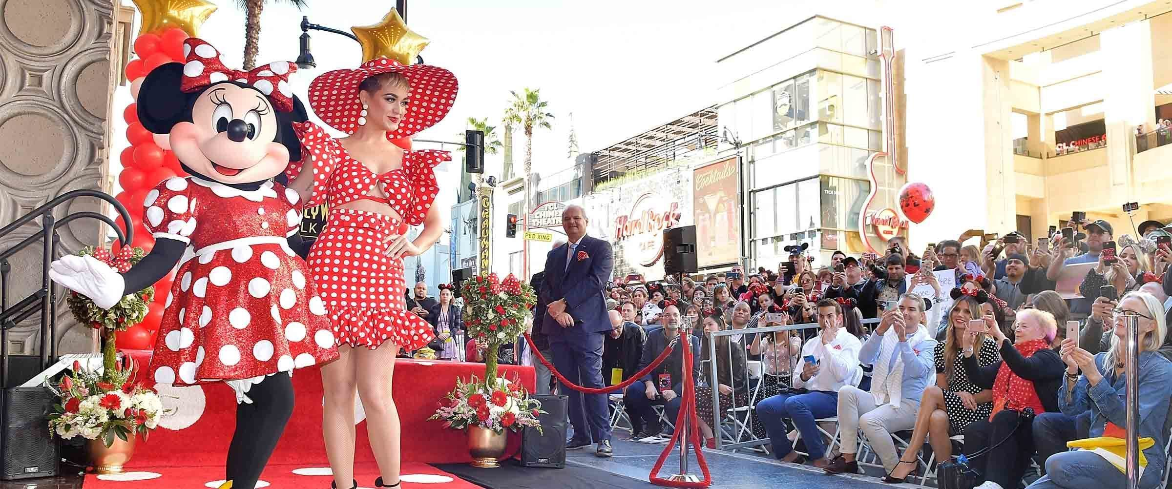 Minnie Mouse and Katy Perry on the Hollywood Walk of Fame