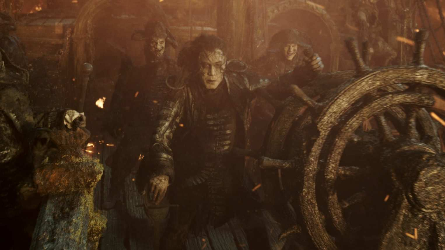 Captain Salazar, played by Javier Bardem, with his crew on his ship in the movie Pirates of the Caribbean: Dead Men Tell No Tales