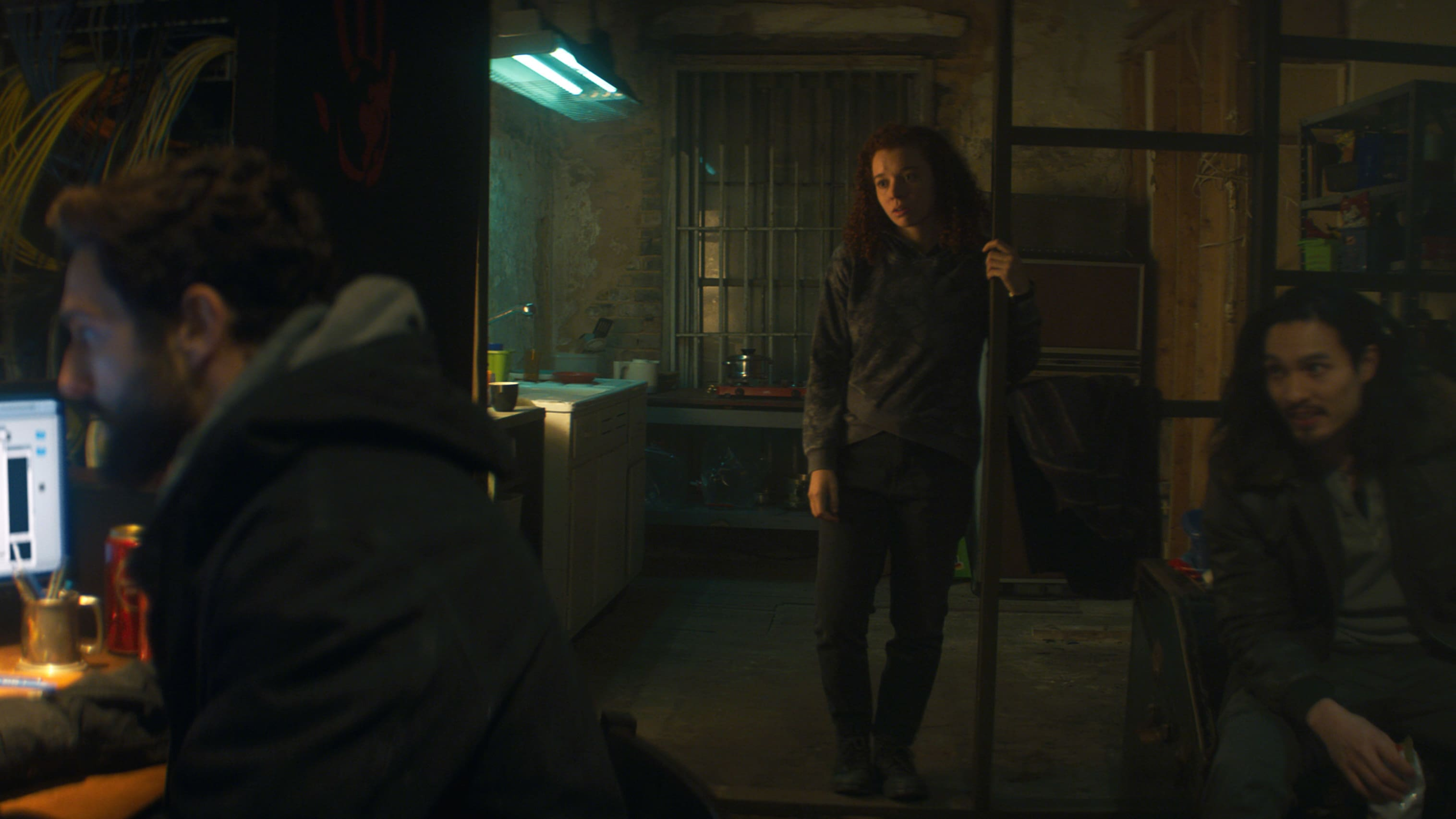 (L-R): Nico (Noah Mills), Karli Morgenthau (Erin Kellyman) and Dovich (Desmond Chiam) in Marvel Studios' THE FALCON AND THE WINTER SOLDIER exclusively on Disney+. Photo courtesy of Marvel Studios. ©Marvel Studios 2021. All Rights Reserved.