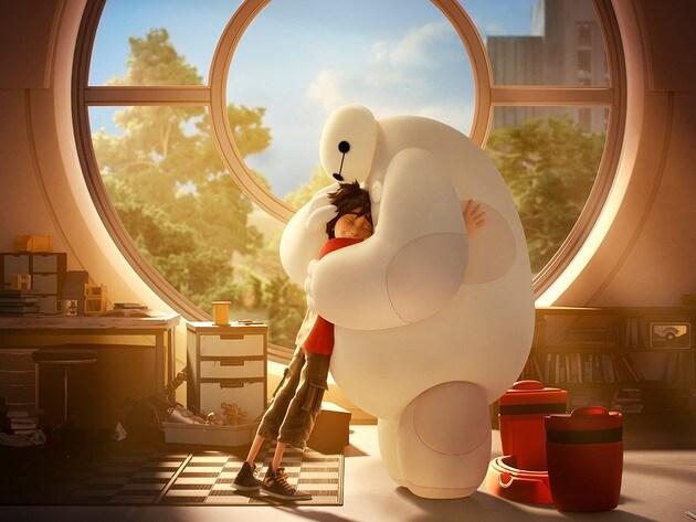 Hiro and Baymax hug.
