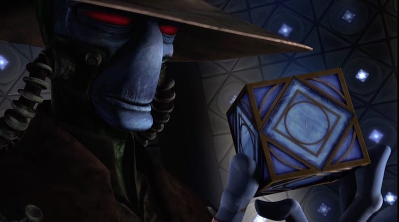 A Jedi Holocron in the hand of Cad Bane