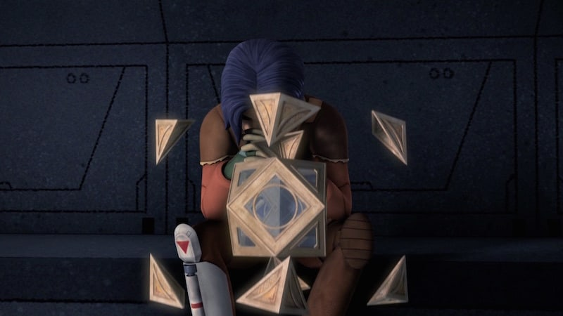 A Jedi Holocron being opened by Ezra Bridger