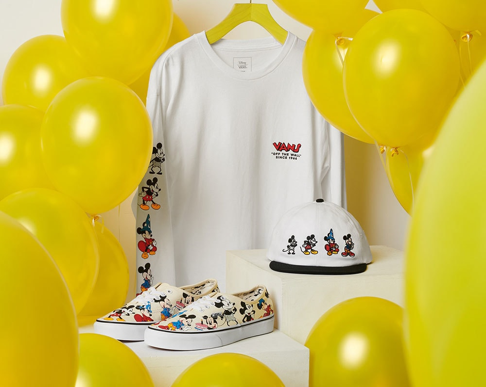 Mickey Mouse themed long-sleeve tee, Jockey hat, and Vans' original footwear