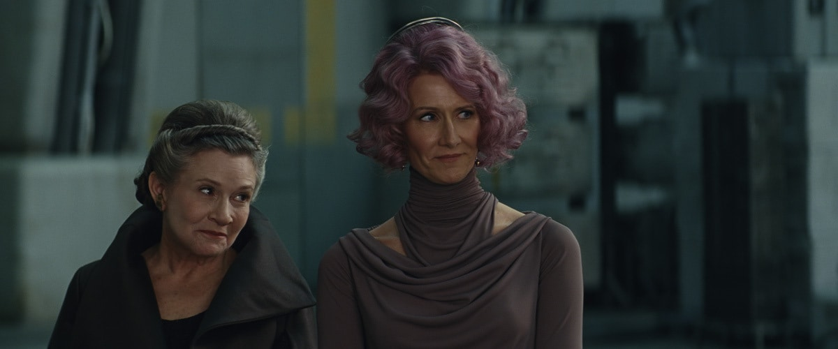 Amilyn Holdo standing with Leia Organa