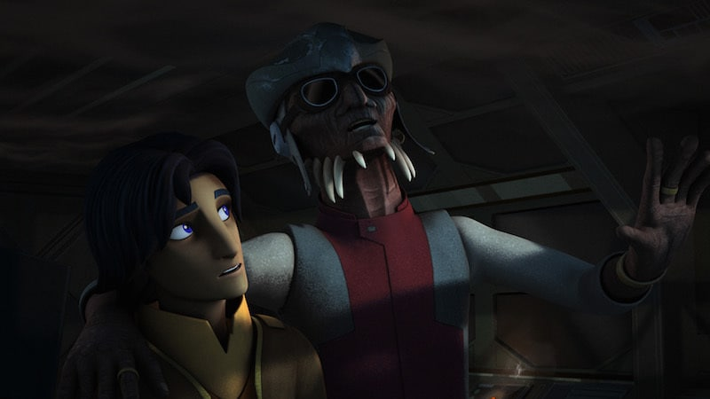Hondo Ohnaka speaking with Ezra Bridger
