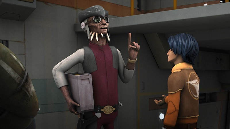 Hondo Ohnaka speaking with Ezra Bridger and Kanan Jarrus
