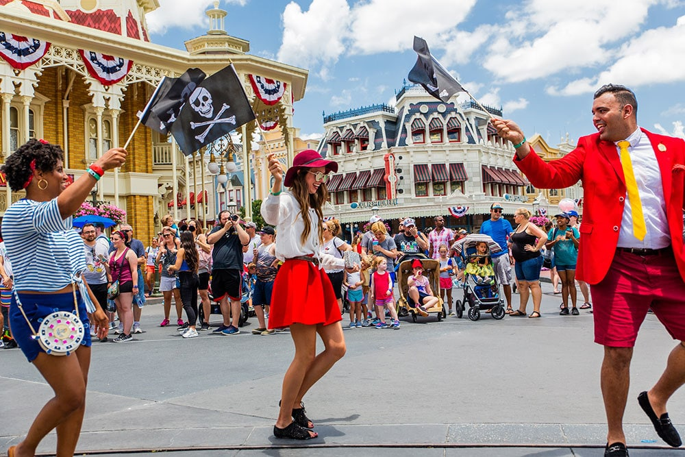 Fans celebrating during Peter Pan's 65th Anniversary Parade