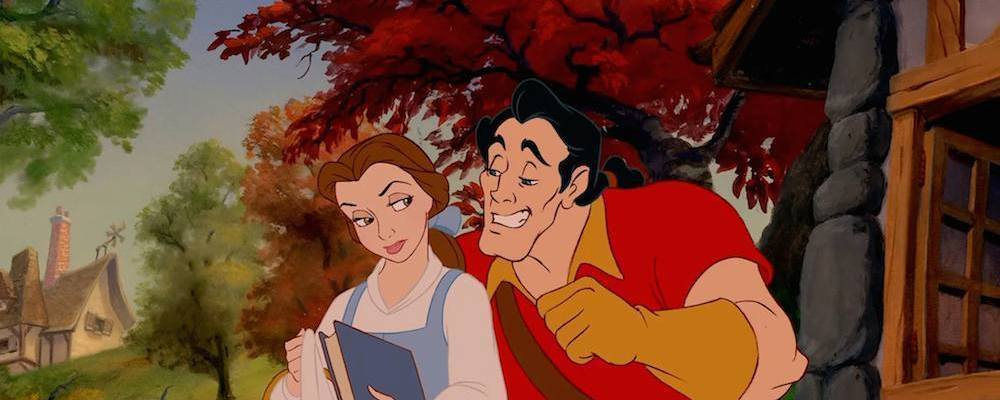 "Belle and Gaston from the animated film ""Beauty and the Beast"""