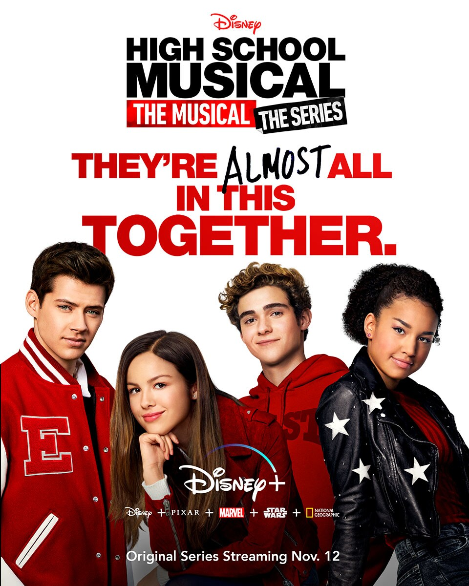 High School Musical: The Musical: The Series Poster with cast on Disney +, Disney plus Pixar plus Marvel plus Star Wars plus National Geographic
