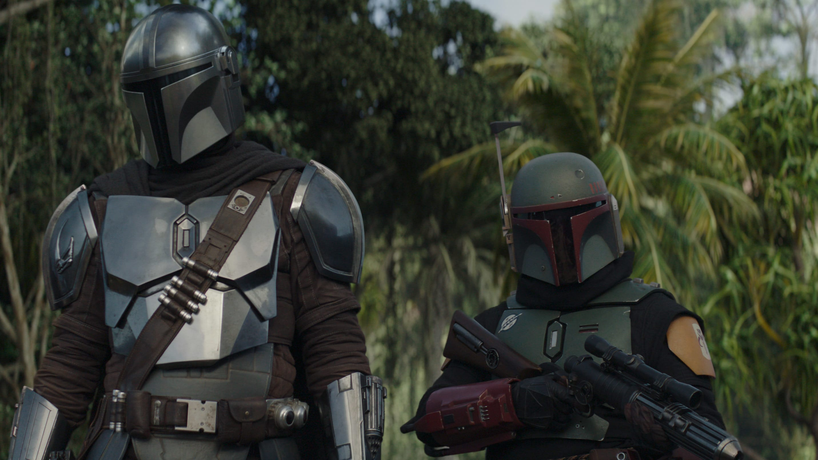 (L-R): The Mandalorian (Pedro Pascal) and Boba Fett (Temuera Morrison) in Lucasfilm's THE MANDALORIAN, season two, exclusively on Disney+. © 2020 Lucasfilm Ltd. & ™. All Rights Reserved.