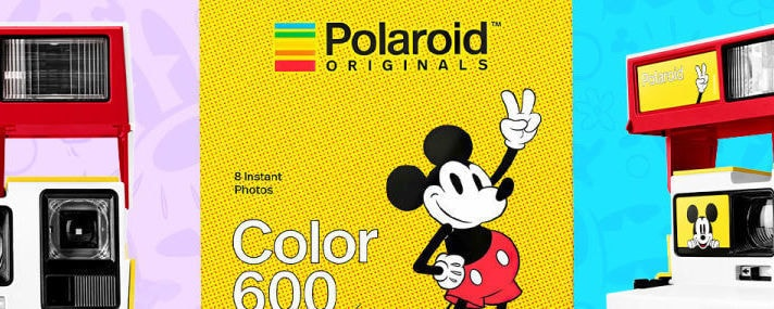 Collage of  Mickey Mouse themed Polaroid cameras