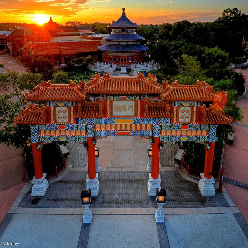 China Pavillion in Epcot during Sunset