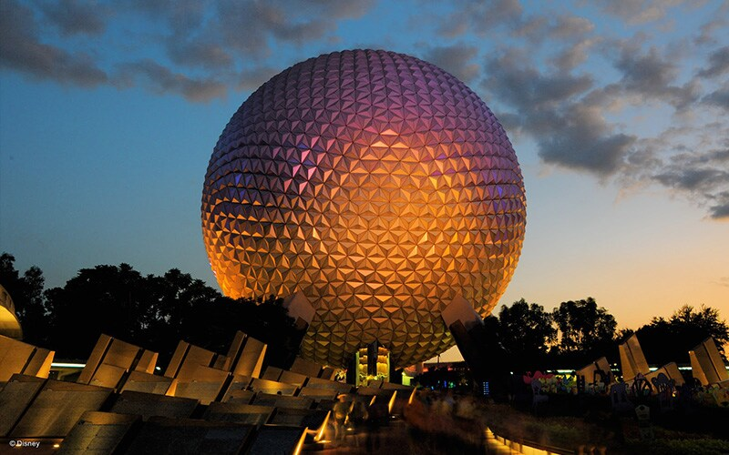 Spaceship Earth during sunset at the Walt Disney World resort