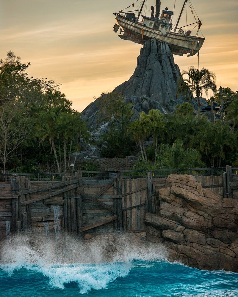 "Typhoon Lagoon during sunset; with the boat ""Miss Tilly"" impaled in mt. Mayday"