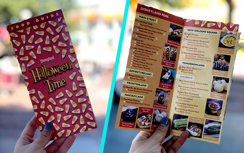 Disneyland Resort Halloween Time menu cover and inside with list of Halloween food Items.