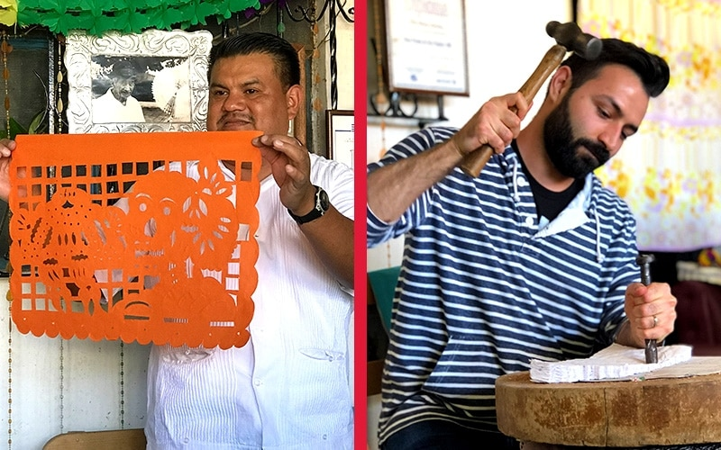 LEFT: MARCO ANTONIO SÁNCHEZ MARTINEZ OF ARTESANIAS SÁNCHEZ DEMONSTRATES THE ART OF MAKING PAPEL PICADO. RIGHT: COCO DIRECTOR ADRIAN MOLINA TRIES HIS HAND AT IT.
