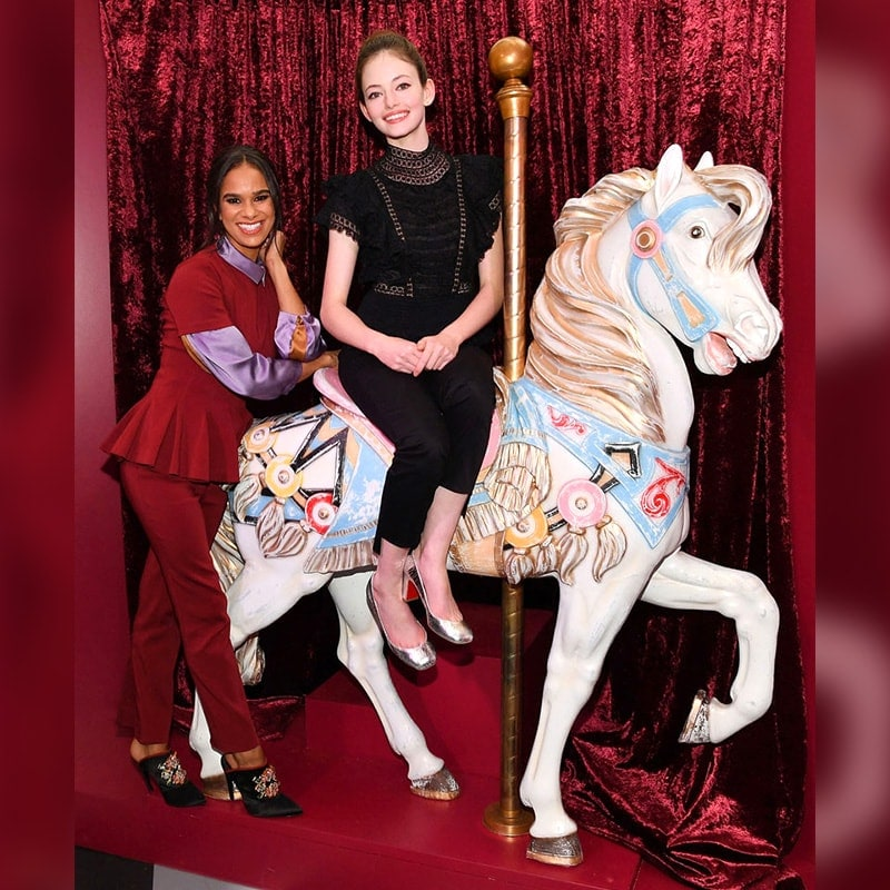 Mackenzie Foy and Misty Copeland in The Fourth Realm portion of The Nutcracker and the Four Realms New York City pop-up experience