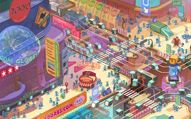 Ralph Breaks the Internet concept art of the information highway