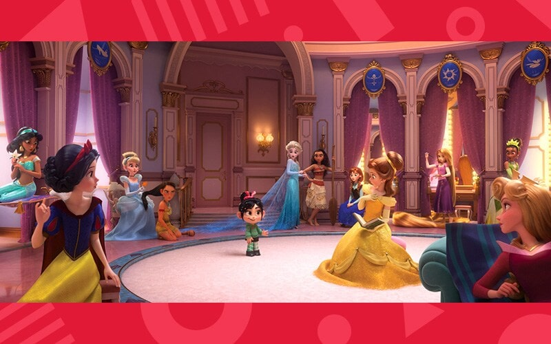 Vanellope in a room with Disney Princesses, Jasmine, Snow White, Cinderella, Pocahontas, Vanellope, Elsa, Moana, Anna, Belle, Rapunzel, Aurora, and Tiana