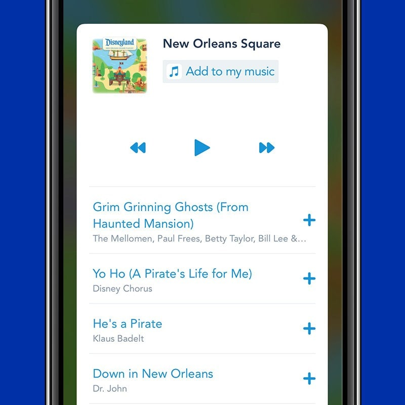 Screenshot of Disneyland Park app music section; playing New Orleans Square