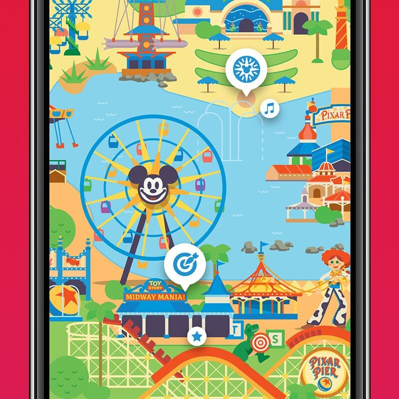 California Adventure map on the Disenyland park app