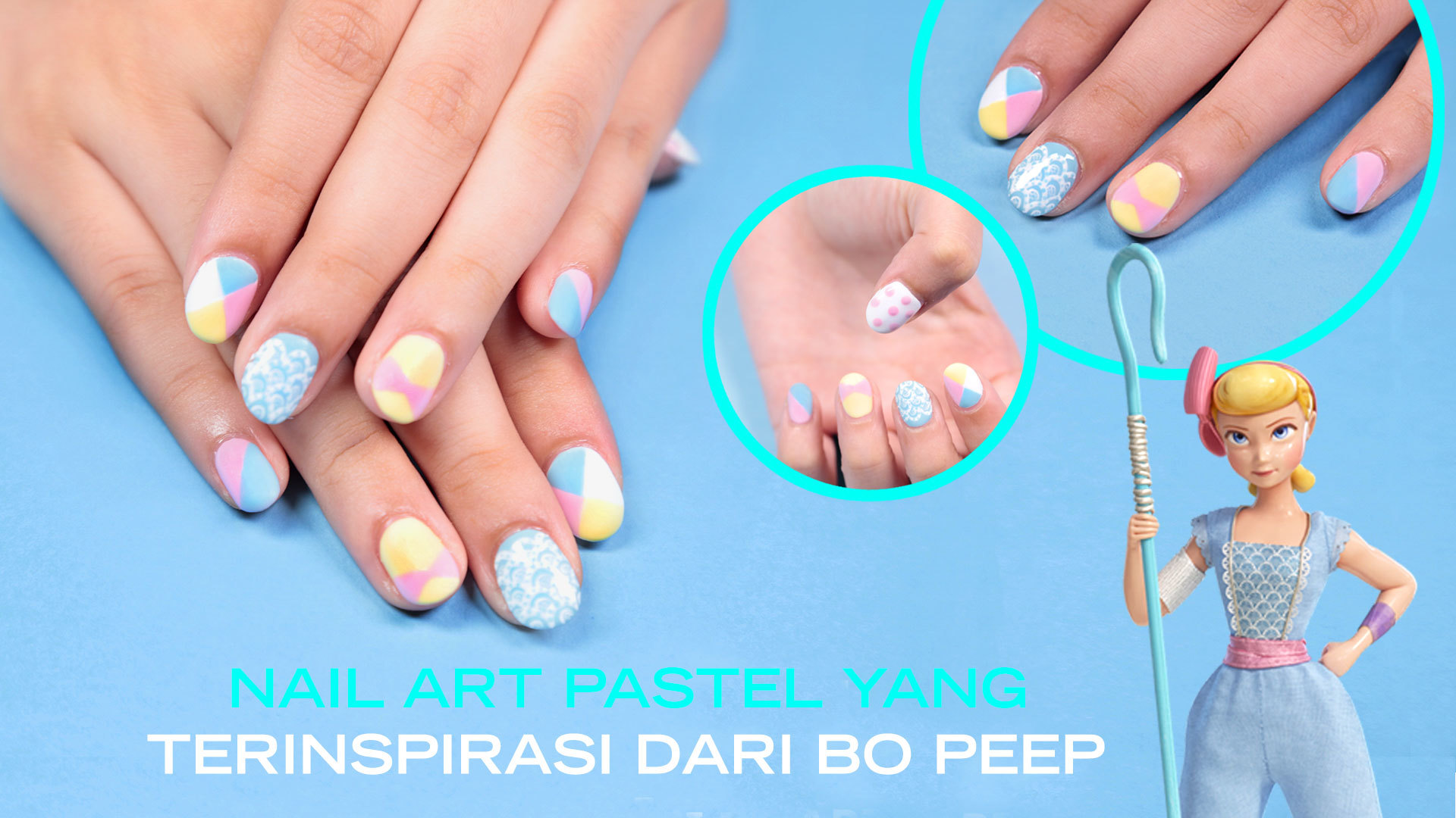 Disney Style: Nail art inspired by Bo Peep from Disney and Pixar's Toy Story 4