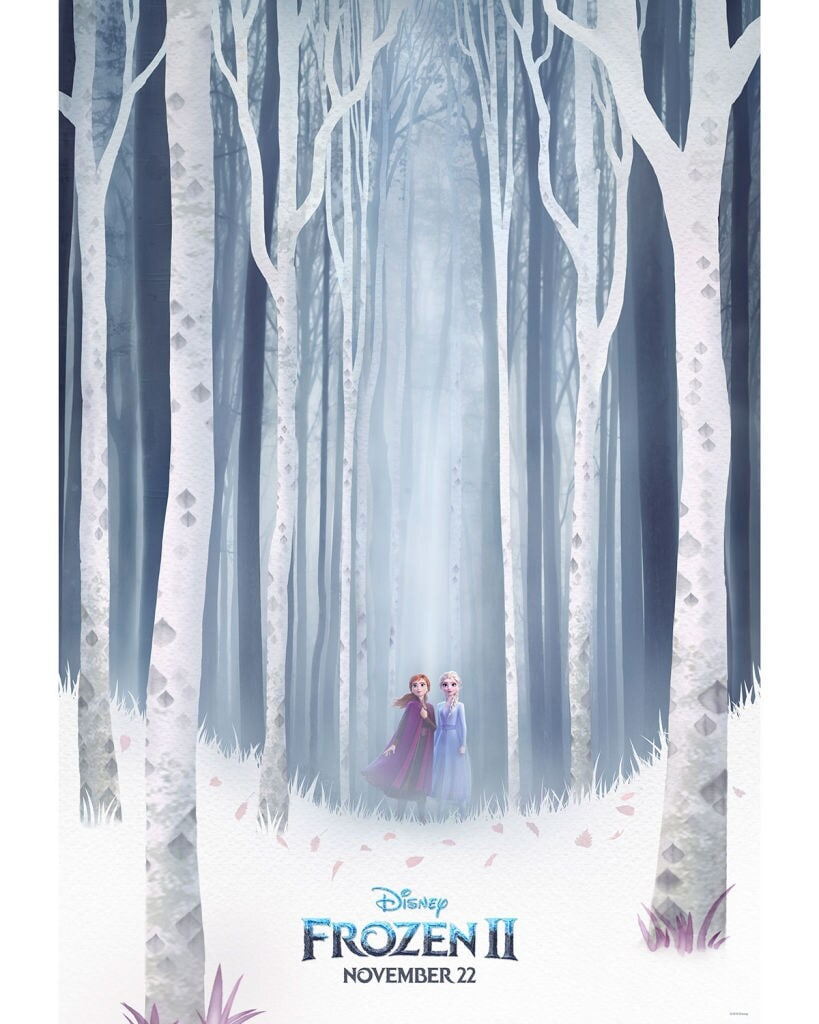 Frozen 2 poster featuring Anna and Elsa, standing amidst tall white trees