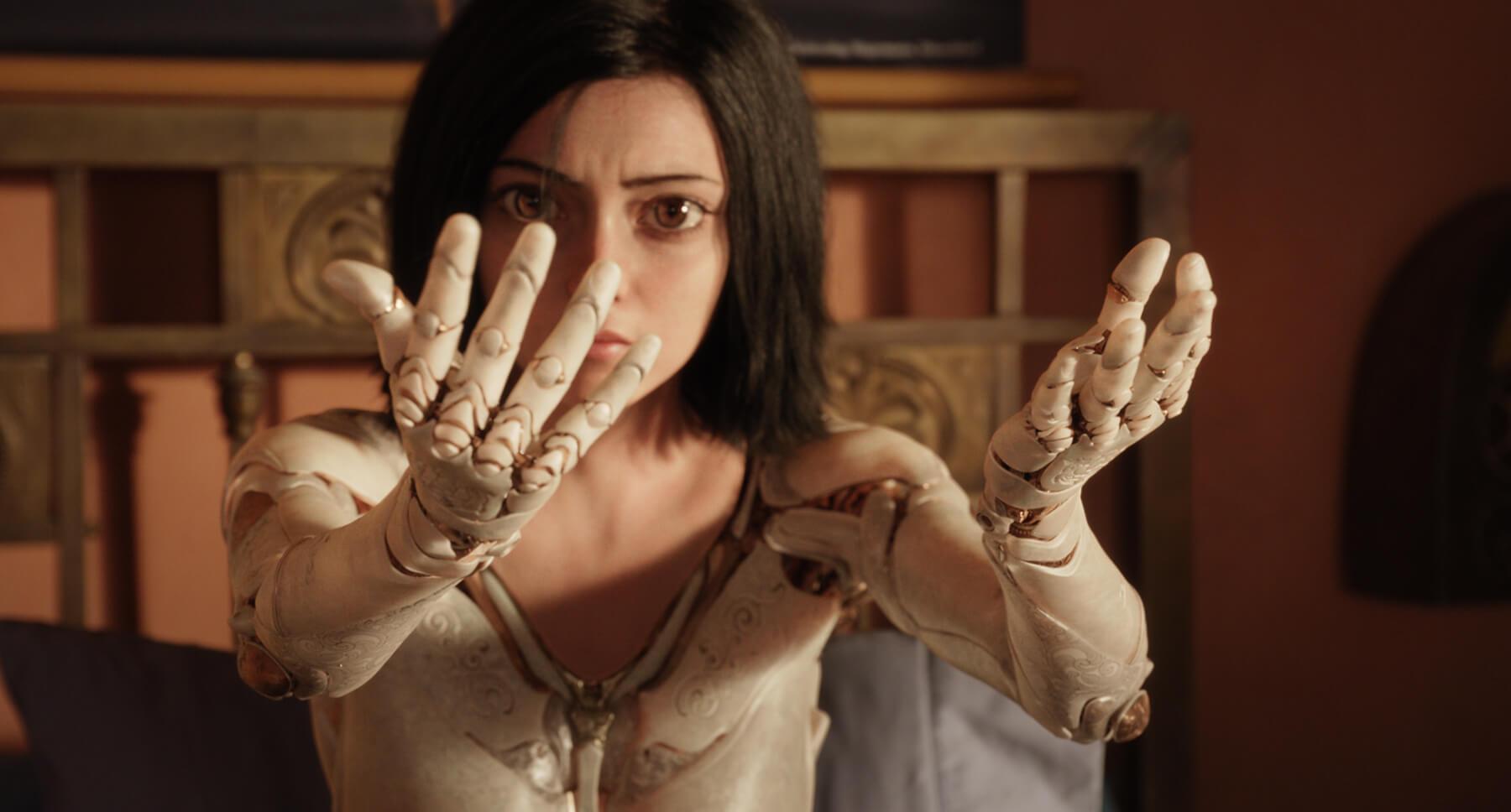 "Rosa Salazar as Alita in the movie ""Alita: Battle Angel"""