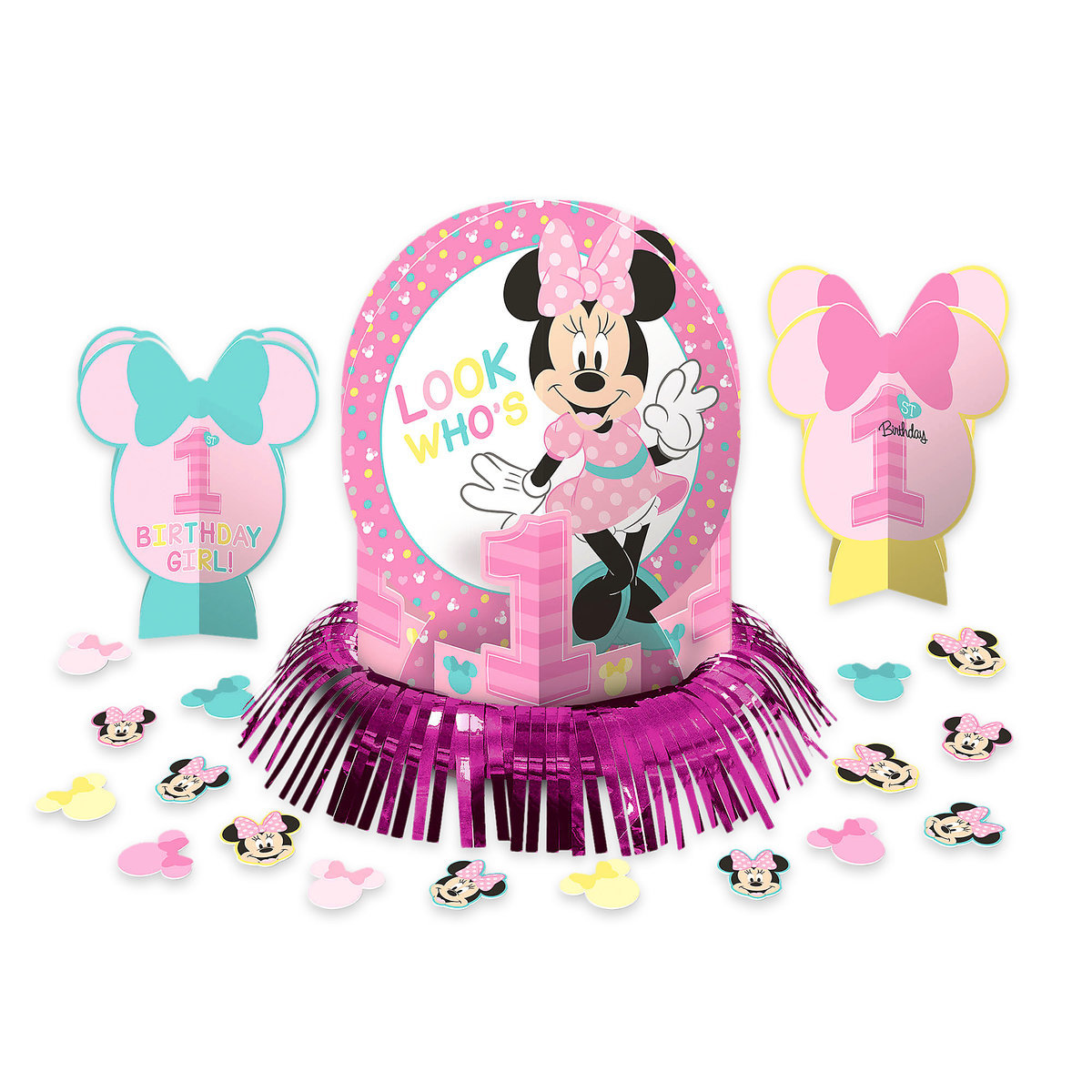 Product Image Of Minnie Mouse 1st Birthday Table Decorating Kit 1