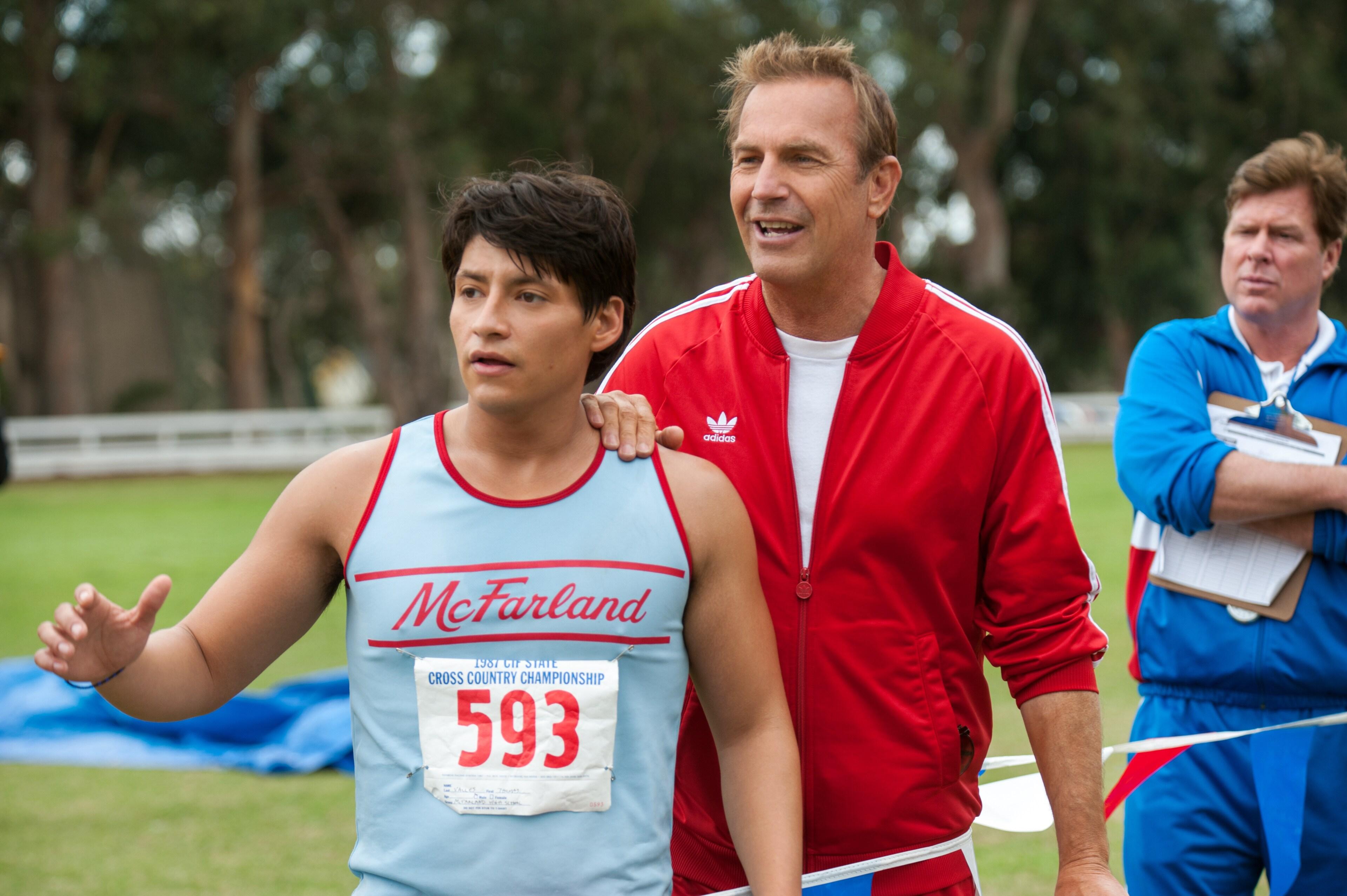 "Kevin Costner and Carlos Pratts in ""McFarland, USA"""