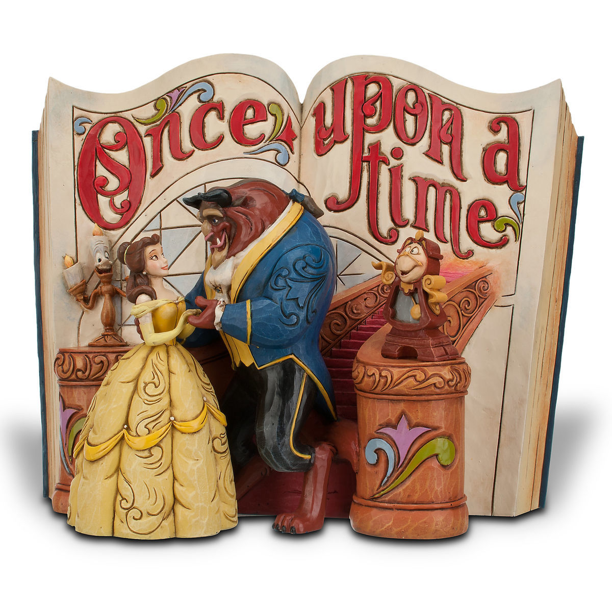 beauty and the beast story book figurine by jim shore shopdisney